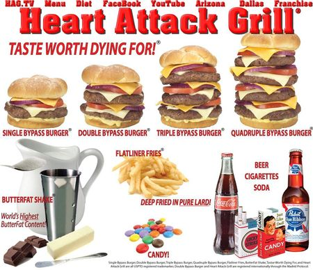 heart attack grill logo. girlfriend heart attack grill