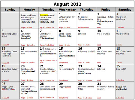 August menu + workouts