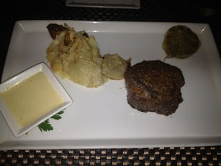 Red 7oz Filet with Garlic Crust and Horseradish Sauce and Horseradish Gratin